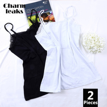 Charmleaks Women Basic Camis Cotton Soft Camisole Lace Tank Tops Adjustable Straps Night Sleepwear Pack of 2