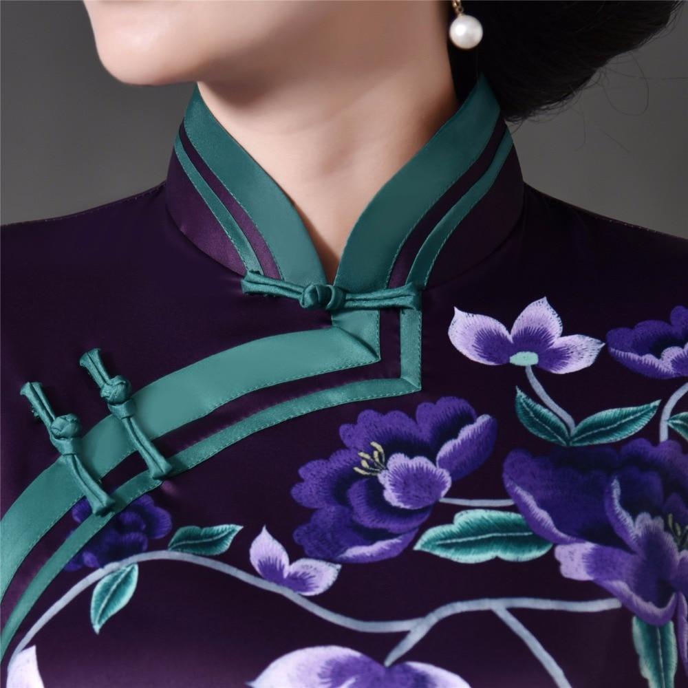 Femmes Robe Bleu pourpre Oriental Long Chinois Qipao Shanghai Rouge Robes Histoire sam Les Pour Cheong rouge 3 4 Cheongsam Manches USgaqPT