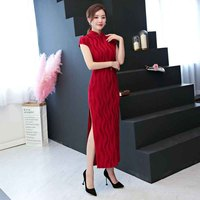 2019 sexy Chinese Women Cheongsam Dresses long Style Elegant Velvet Satin Forking Qipao Traditional China Tang Suit Party dress