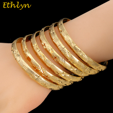 Ethlyn 6Piece/Lot African Ethiopian Wedding Gold Color Openable Charm Bracelets For Women Bangle Jewelry  Bangles B040