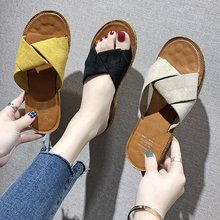 2019 Summer New Slipper Female Flat-bottomed Word Crossover Fashion Wear Sandals Womens Shoes