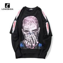 New Fashion Cool Men Sweatshirt High Street Pullover Streetwear Hip Hop Male Loose Clothing Black White