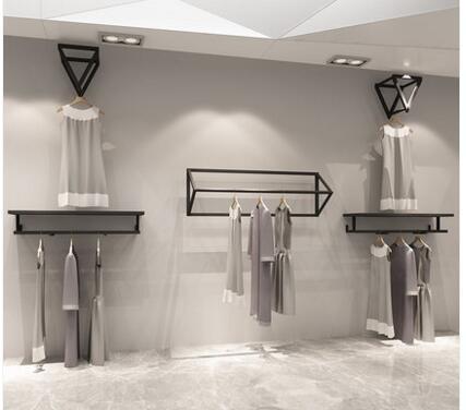 Clothing store display rack wall. Simple wall  hang. Dress shop hanger .88015