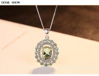 New Sterling Silver Necklace Olive Emerald Pendant Fashion Boutique Women's Accessories LSM02