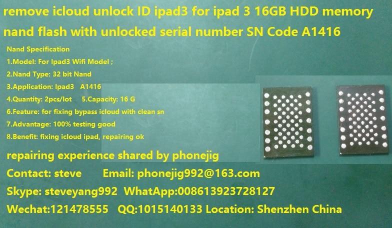Remove icloud ipad3 unlock ID ipad 3 wifi A1416 16GB HDD
