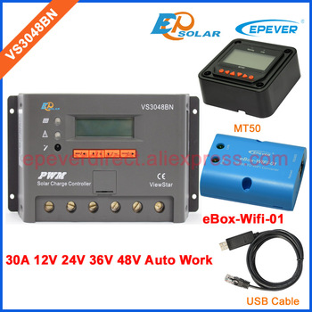 48V charger EPEVER PWM Solar panels Controller VS3048BN 30A 30amps ViewStars series Wifi eBOX only for Android Phone USB cable