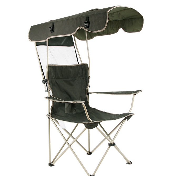 Outdoor patio furniture leisure sunscreen folding chairs with Sun shelter fishing beach chairs garden chair for single man