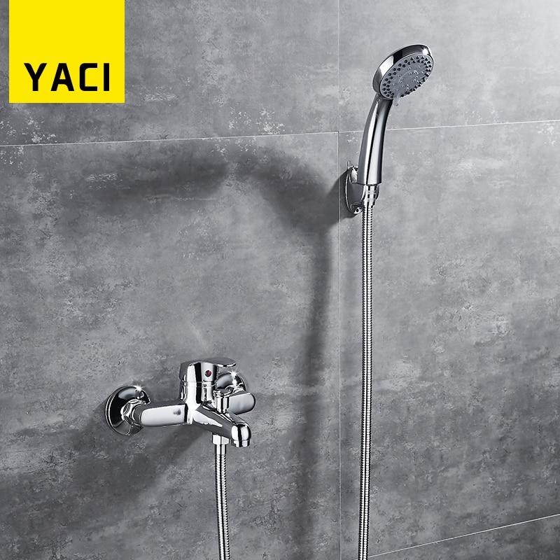 YACI  Classic Bathroom Shower Faucet Bath Faucet Mixer Tap With Hand Shower Head Set Wall Mounted bakala brass bath black faucets wall mounted bathroom basin mixer tap crane with hand shower head bath