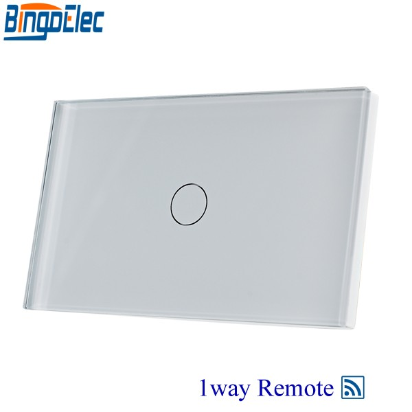 Home Improvement 1gang 1way Remote Wall Touch Switch,White Glass Touch Sensor Switch AU/US , AC110-250V,RF433 Remote Switch eu us smart home remote touch switch 1 gang 1 way itead sonoff crystal glass panel touch switch touch switch wifi led backlight