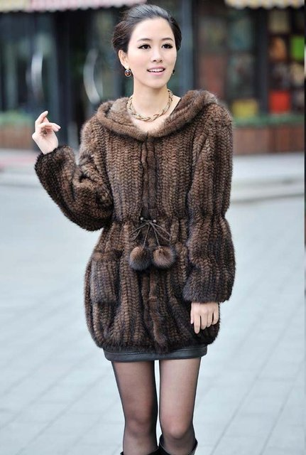 100% EUROPEAN MINK FUR KNITTED LONG COAT WITH HOOD/ REAL MINK FUR JACKET* FREE SHIPPING*BE1249 3