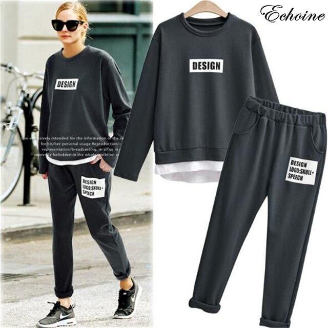49d5b132602 Echoine 2 Pieces Set Female Letter Print Tracksuits Plus Size Sweatshirt +  Pants Trousers Casual Loose Women Suit Outwear