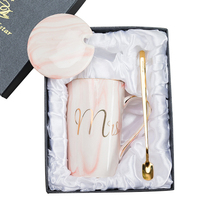 Drinkware Creative Ceramic Ms/Mrs Coffee Mug Milk Tea Marble Cup Golden Line Porcelain For Lovers Wedding Anniversary Gift Box