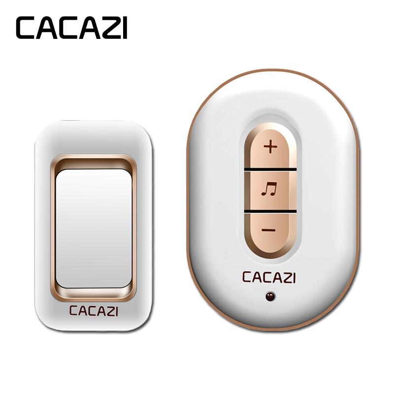 CACAZI Intelligent Sans Fil Sonnette Étanche 280 m À Distance Home Calling Cloche AC Récepteur US EU Plug Batterie Bouton 6 Volume 48 chansons
