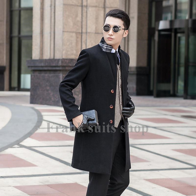 Custom made 2017 New design new arrival Black coat male woolen overcoat slim outerwear trench