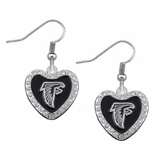 91d4cd4e 5 Pairs Trendy Heart Rhinestone Football Fans Earrings American Football  Atlanta Falcons Charm Drop Earrings-in Drop Earrings from Jewelry & ...
