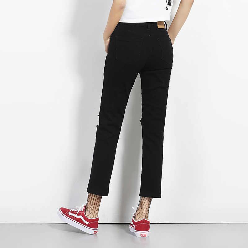 2019 leijiджинсы Новое поступление весна плюс размер модные рваные дырочки черные средней талии по щиколотку сексуальные обтягивающие женские джинсы прямого кроя