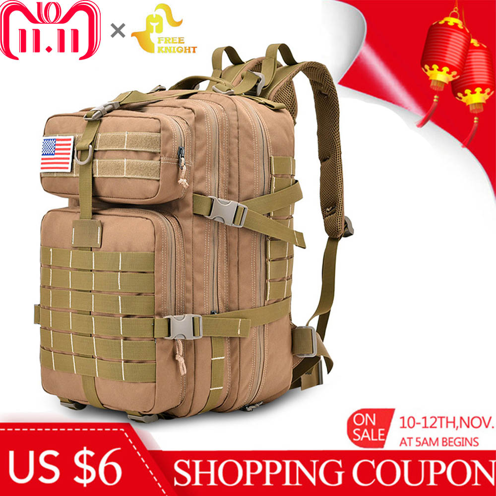 купить Free Knight 45L Military Tactical Backpack Assault Pack Army Bag Molle Trekking Travel Bag Water Resistant Camping Hiking Bag недорого
