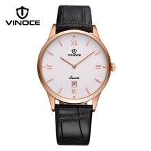 VINOCE Abrasivo de Negocios dial de Lujo Clásico Reloj de Los Hombres Relogio masculino Mens de Cuero Genuino Reloj de Cuarzo Calendario 2017
