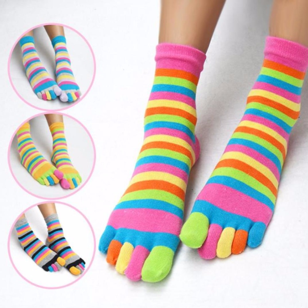 78% Cotton 2018 Funny Women Men Rainbow Socks Colorful Striped Crew Socks Multicolor Mix Casual Five Finger Toe Socks 35-39 Size