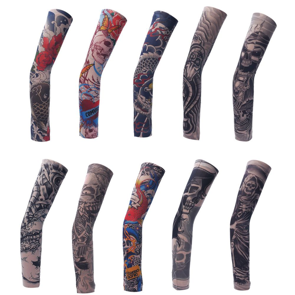 1Pc High Elastic Temporary Tattoo Sleeves Arm Stockings Skin Proteive Nylon Stretchy Fake  Cool Men Unisex Fashion Arm Warmer