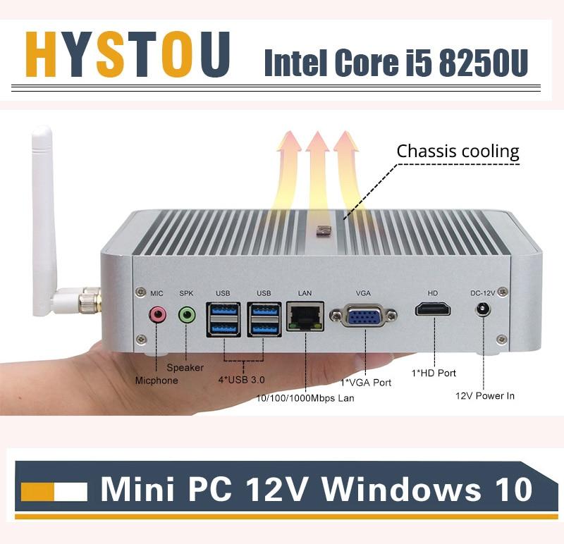 HYSTOU Intel Core I5 8250U Portable Computer Windows 10pro HDMI VGA Dual Display