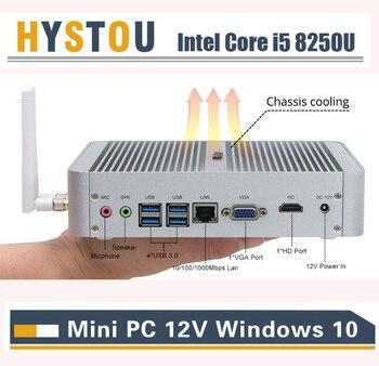 Intel Core i5 8250U Portable Computer Windows 10pro HDMI VGA Dual Display Fanless PC 4K HTPC i5 7260U Iris Plus 640 Desktop