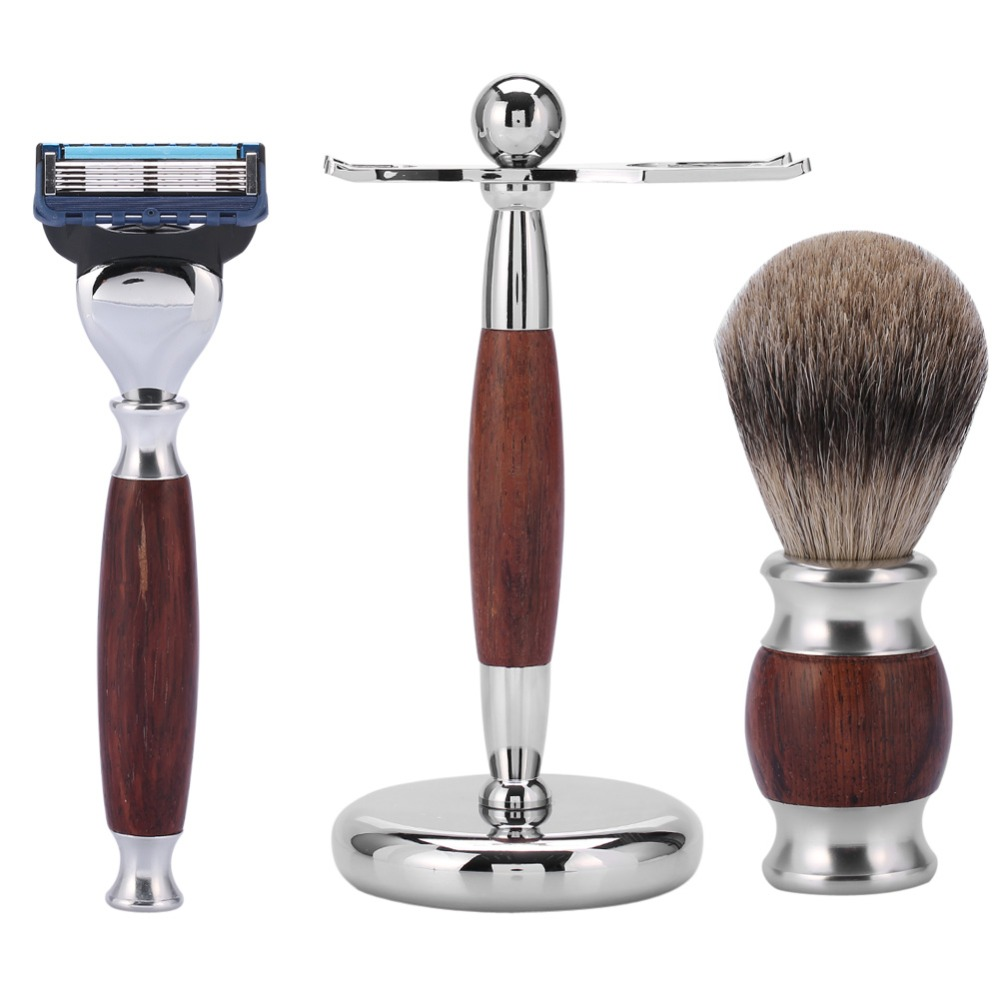 Mens Classic Shaving Kit Rosewood Shaving Brush + Safety Razor+ Stainless Steel Holder Cleaning Beard Hair Removal Grooming Set