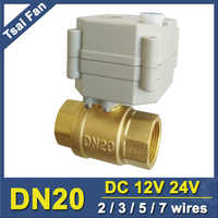 TF20-B2-B 2/3/5/7 Wires Brass 3/4'' Electric Actuated Valve DN20 Full Port Metal Gear Motorized Valve With Manual Override