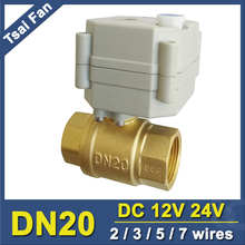 TF20 B2 B 2/3/5/7 Wires Brass 3/4 Electric Actuated Valve DN20 Full Port Metal Gear Motorized Valve With Manual Override