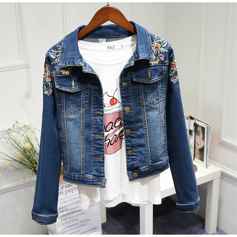 Harajuku Denim Jacket Women jean coat Embroidered Bomber Jackets Motorcycle Short Jacket Trend brand Korean clothes Streetwear