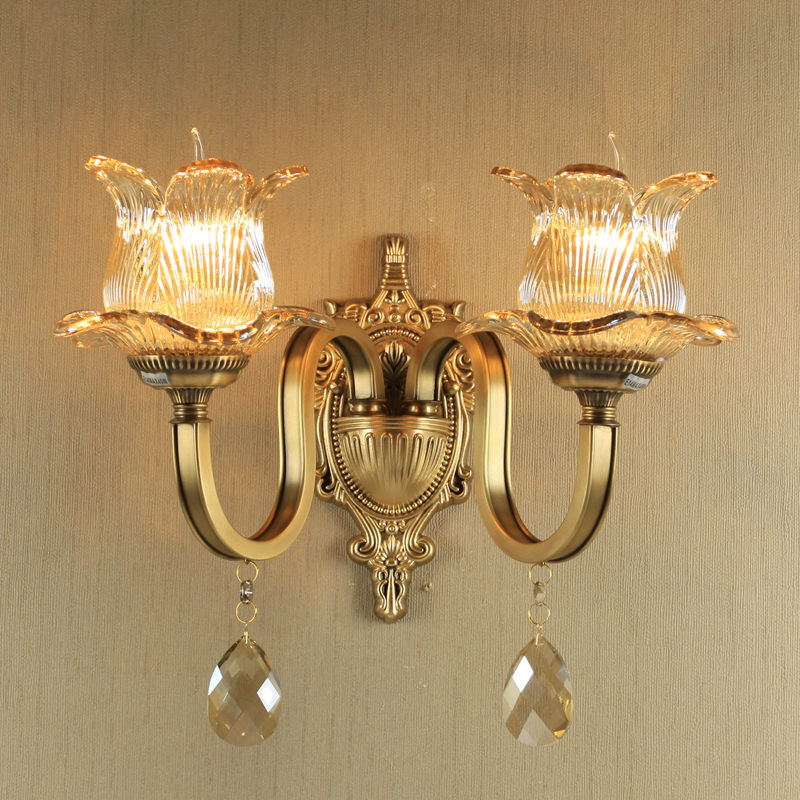 Antique Bronze Wall Light Luxury Crystal Wall Lamp Living Room Vintage Sconce Wall Lights Aisle Copper Wall Lamp Brass Lighting
