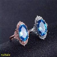 KJJEAXCMY fine jewelry 925 чистого серебра, инкрустированные с натуральными драгоценными Голубой топаз кольцо ювелирные золотые и серебряные цвета.
