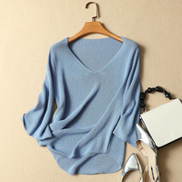 silk knitted sweater 2018 summer new women flare sleeved solid casual pullovers outwear tops