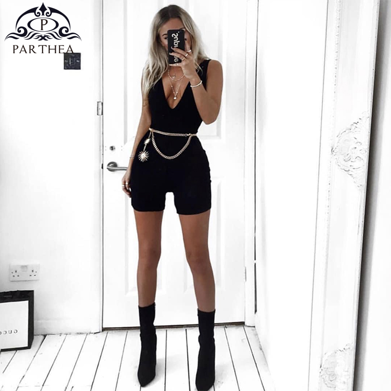 Parthea Sexy Jumpsuit Summer Black Body Feminino Bodysuit Cotton Jumpsuits For Women 2018 Rompers Womens Jumpsuit Short Overalls