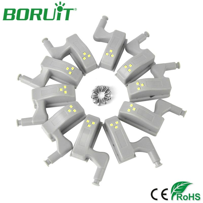 BORUiT 10pcs Bedroom Wardrobe Hinge LED Light Home Drawer Ki