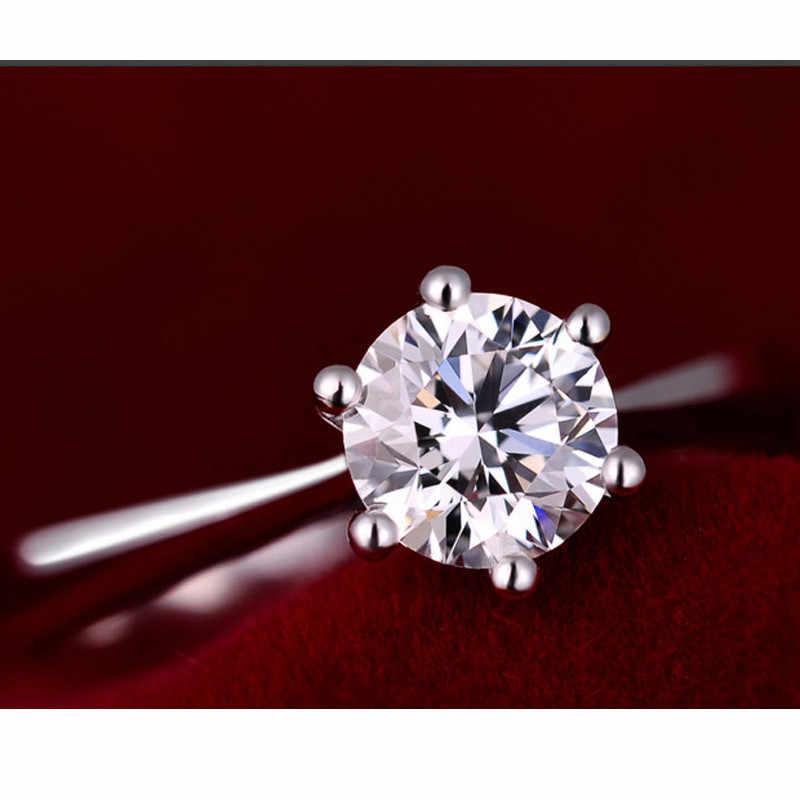 Joyería romántica del anillo de la fiesta de la boda con el anillo brillante de la Zirconia cúbica para las mujeres dama 925 anillos de plata esterlina Accesorios
