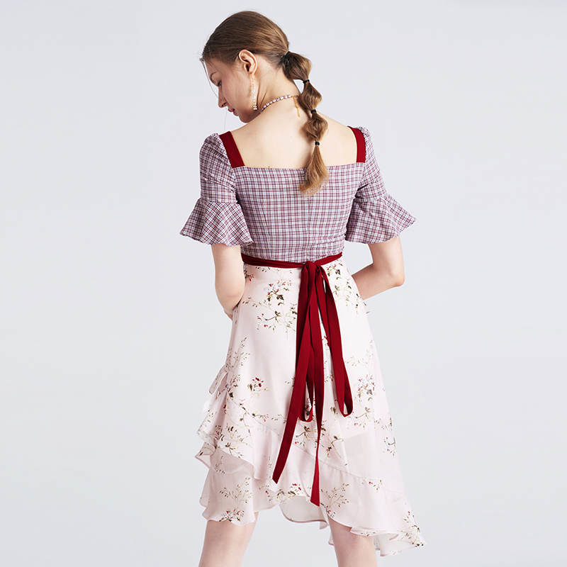 Health IOW Natural 最新の女性フリルドレスファッションスクエアネックフレアスリーブ膝丈チェック柄パッチワークプリントドレス