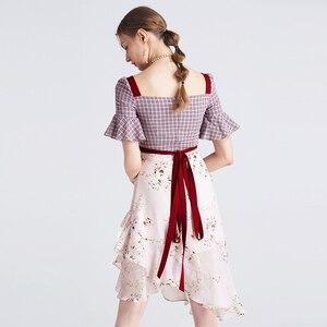 Image 3 - Yigelila 2019 mais recente feminino babados vestido moda quadrado pescoço alargamento manga na altura do joelho xadrez retalhos vestido de impressão 62769