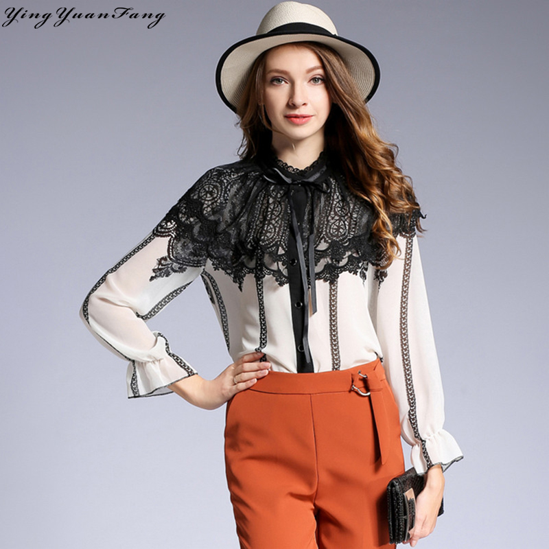 YingYuanFang New fashion stand collar Chiffon and Lace Printed long butterfly sleeve  women's shirt