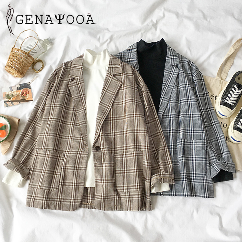 2019 Fashion Plaid Women Blazer Coat Retro Button Lattice Suit Jacket Pads Jacket Blazer Female Casual Coats