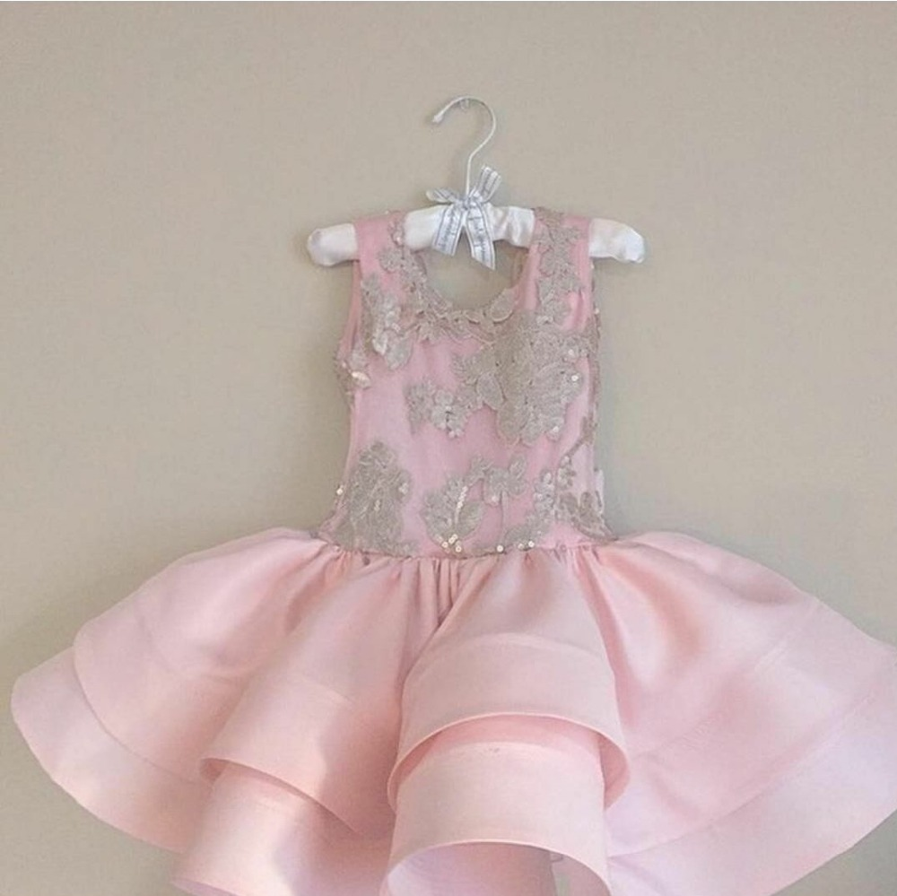 Pink 2019   Flower     Girl     Dresses   For Weddings Ball Gown Satin Appliques Bow Backless First Communion   Dresses   For Little   Girls