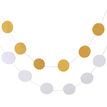 Glitter Bling 2MCircle Polka Dots Paper Garland  Gold And Silver Wall Hanging Birthday Party Wedding Layout Supplies