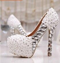 2015 Свадебные туфли белые туфли на высоком каблуке женская обувь красная роза свадебная обувь невесты обувь из натуральной кожи плюс размер 35-43