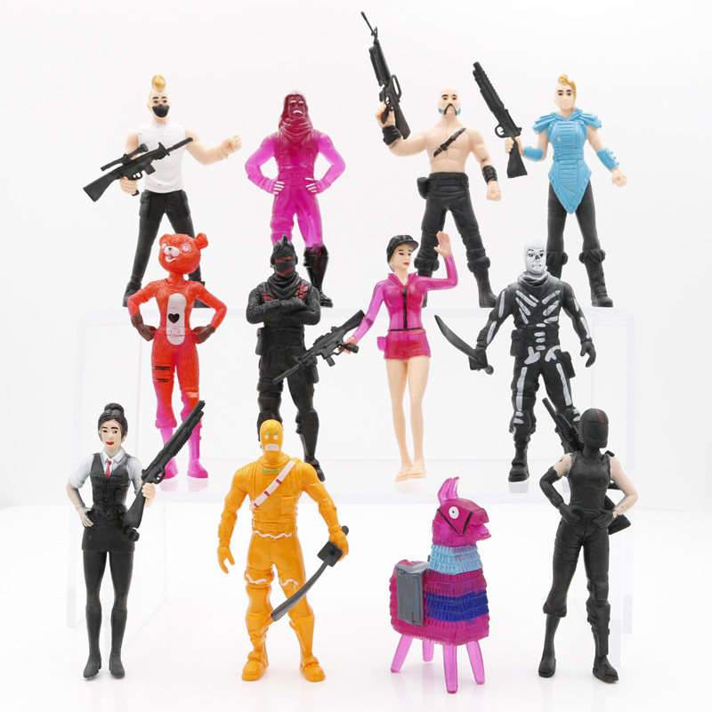 12pcs Fort Night pop Fornite Fortnight Battle Game Royale Llama PVC Action Figure Toys Character Model Toys for children B004