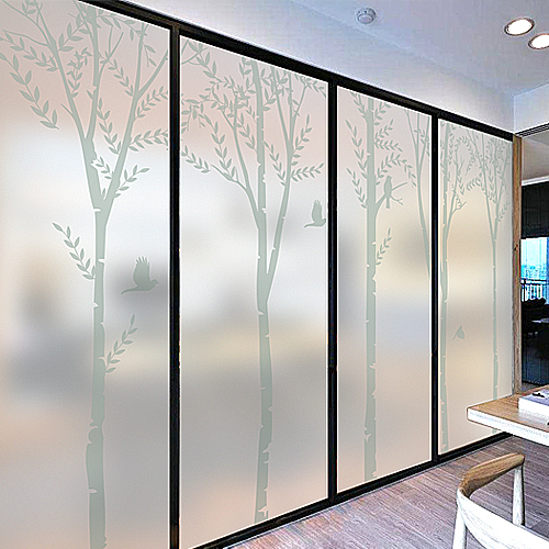 Decorative self adhesive static cling frosted stained window film custom sticker moonlight forest white