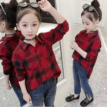 Plaid Shirt For Girls 2018 New Fashion Girls Cotton Shirt Long Sleeve Kids Tops For Girls 32 3 4 5 6 7 8 9 10 11 12 Years Tops(China)
