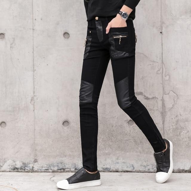 Fashion Men's Pant Faux Leather Jeans Spliced Denim Trousers Male Stretch Slim Fit Punk Stage Singer Motorcycle Casual Pants Men 3