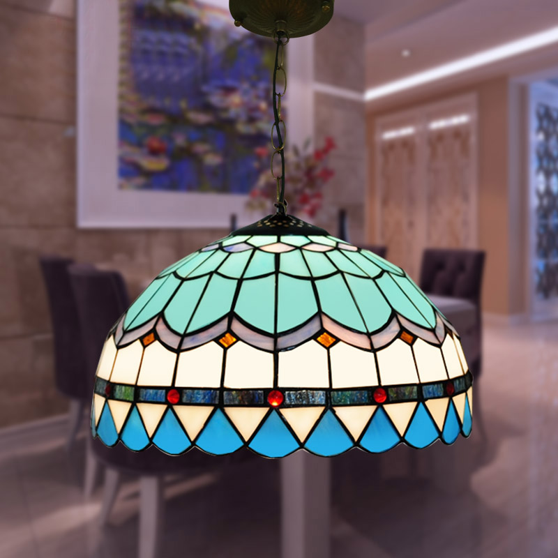 Mediterranean style Tiffany Blue Stained Glass Pendant Lamp with E27 LED Chain Pendant Light Luminarias for Living Room