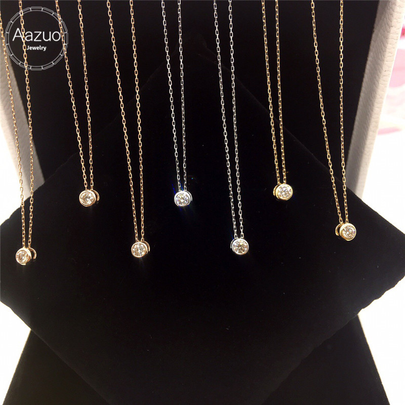 Aazuo 18K White Gold Yellow Gold Rose Gold Real Diamonds Round Free Pendent Necklace gifted for