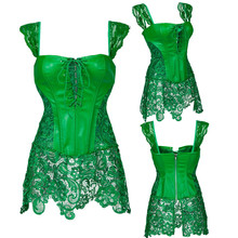 Plus size Sexy Lingerie Corset Women Zipper Leather Waist Lace up Boned Bustier Top Dress Underwear